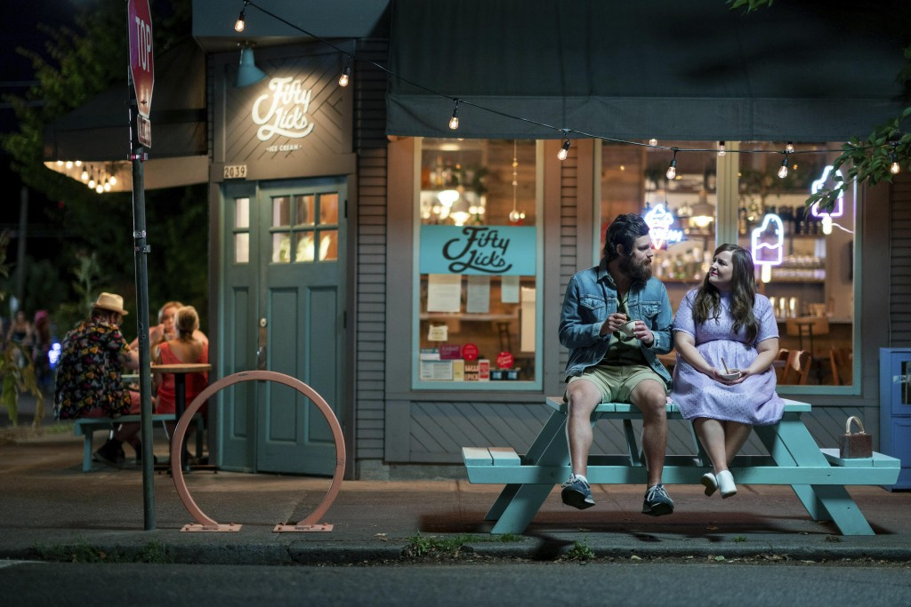 """This image released by Hulu shows Luka Jones, left, and Aidy Bryant in a scene from the second season of the Portland-set comedy series """"Shrill."""" (All..."""