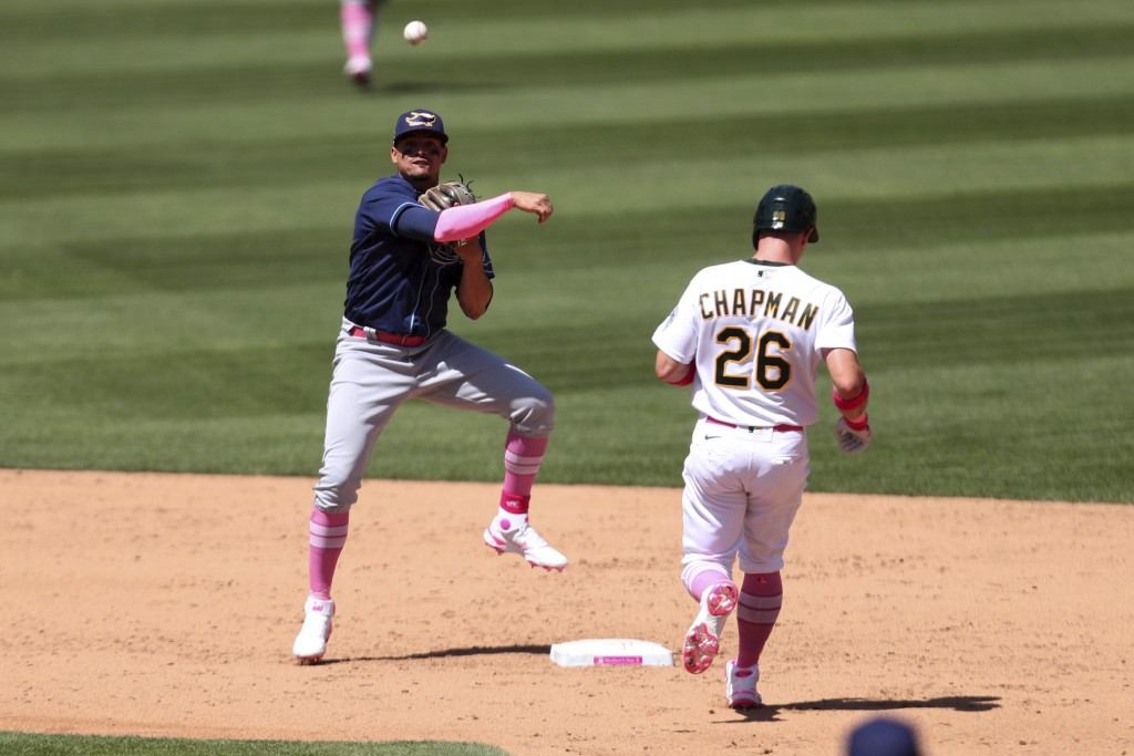 Tampa Bay Rays' Willy Adames, left, throws to first as Oakland Athletics' Matt Chapman goes into second base on a double play hit by Seth Brown during...