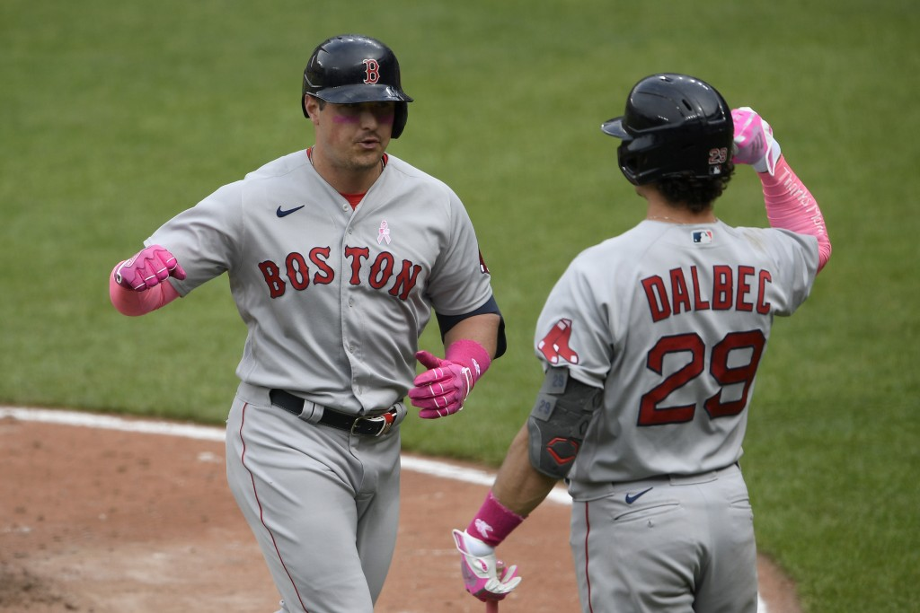 Boston Red Sox's Hunter Renfroe, left, celebrates his home run with Bobby Dalbec (29) during the eighth inning of a baseball game against the Baltimor...