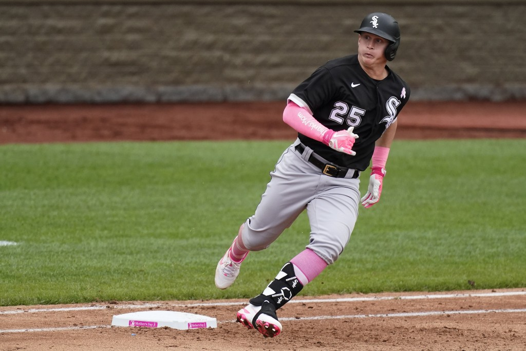Chicago White Sox's Andrew Vaughn runs to second after hitting a double during the sixth inning of a baseball game against the Kansas City Royals Sund...