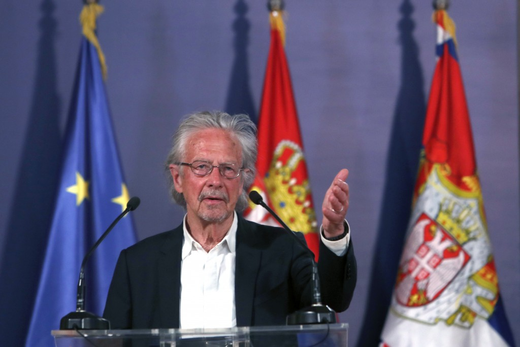 Austrian author Peter Handke speaks during a ceremony after receives the Order of the Karadjordje's Star from Serbian President Aleksandar Vucic in Be...