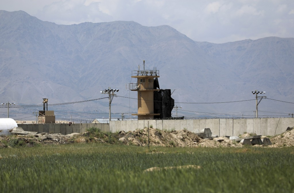A wall surrounds Bagram Air Base northwest of the capital Kabul, Afghanistan, Monday, May 3, 2021. As US troops pack up to leave Afghanistan after nea...