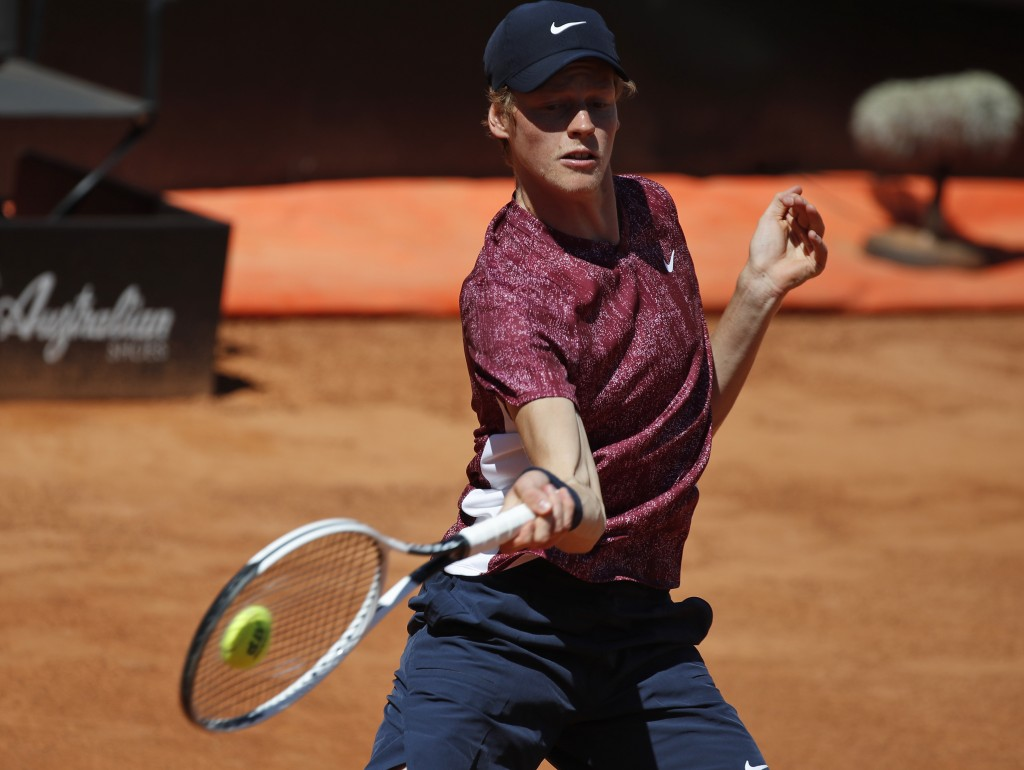 Jannik Sinner of Italy returns the ball to Ugo Humbert of France during their match at the Italian Open tennis tournament, in Rome, Monday, May 10, 20...