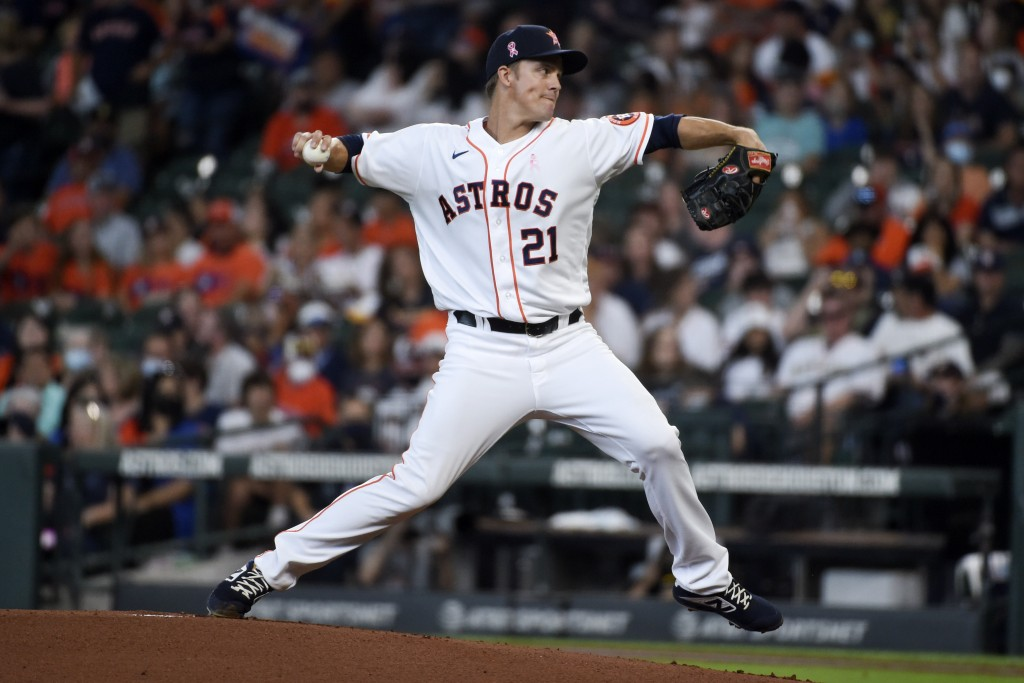 Houston Astros starting pitcher Zack Greinke delivers during the first inning of the team's baseball game against the Toronto Blue Jays, Sunday, May 9...