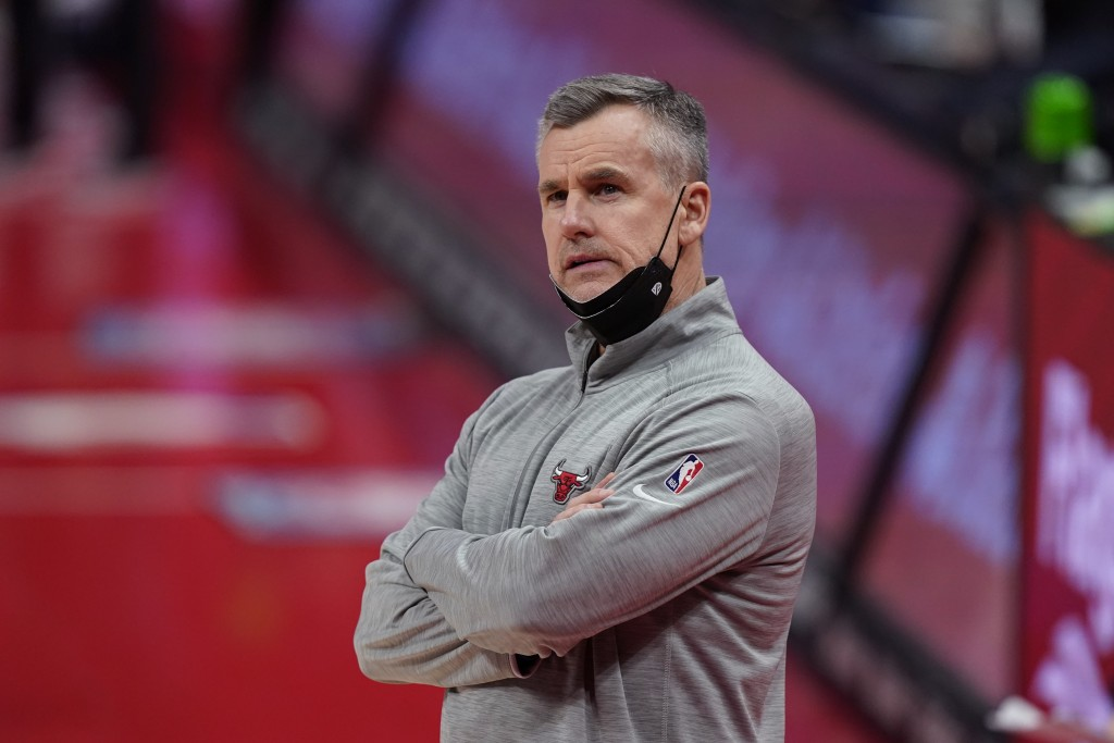Chicago Bulls head coach Billy Donovan watches from the sideline during the first half of an NBA basketball game against the Detroit Pistons, Sunday, ...