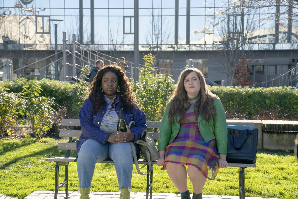 """This image released by Hulu shows Lolly Adefope, left, and Aidy Bryant in a scene from the Portland-set comedy series """"Shrill."""" (Hulu via AP)"""