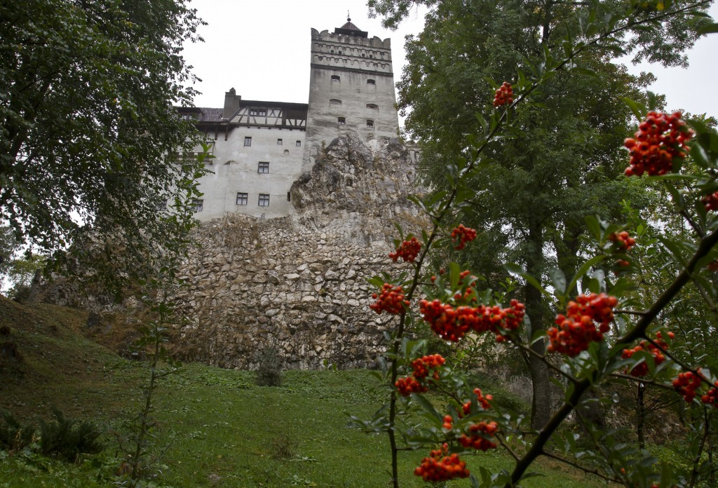 FILE - In this Saturday, Oct. 8, 2011 file picture, the Gothic Bran Castle, better known as Dracula Castle, is seen on a rainy day in Bran, in Romania...