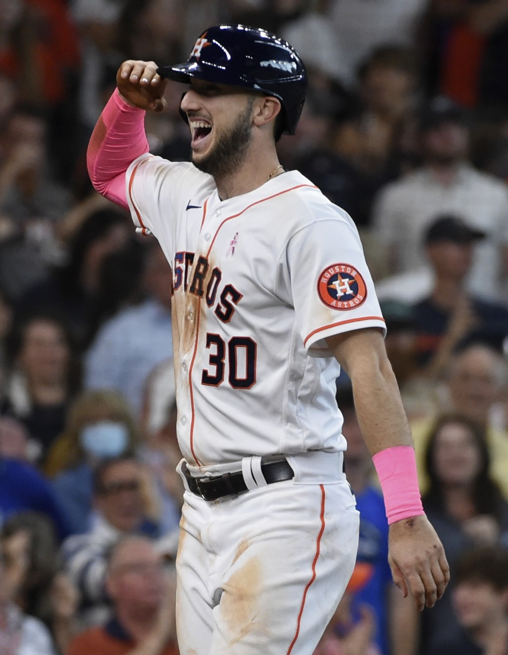 Houston Astros' Kyle Tucker celebrates his three-run home run during the fourth inning of a baseball game against the Toronto Blue Jays, Sunday, May 9...