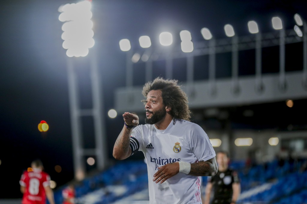 Real Madrid's Marcelo reacts during the Spanish La Liga soccer match between Real Madrid and Sevilla at the Alfredo di Stefano stadium in Madrid, Spai...