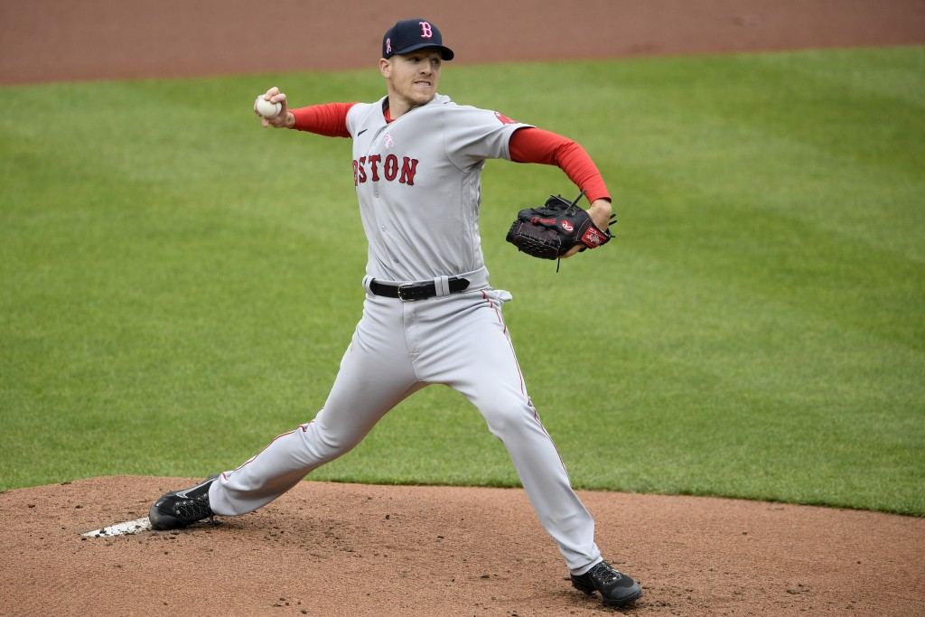 Boston Red Sox starting pitcher Nick Pivetta delivers a pitch during the first inning of a baseball game against the Baltimore Orioles, Sunday, May 9,...