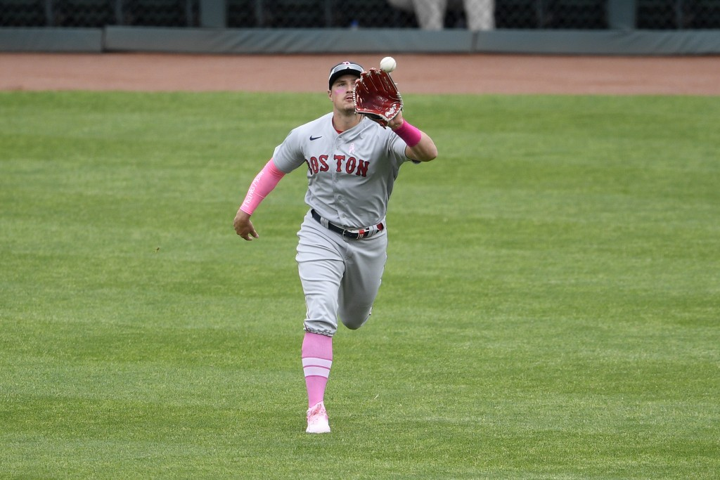 Boston Red Sox right fielder Hunter Renfroe makes a catch on a line drive by Baltimore Orioles' Cedric Mullins, not seen, for the out during the first...