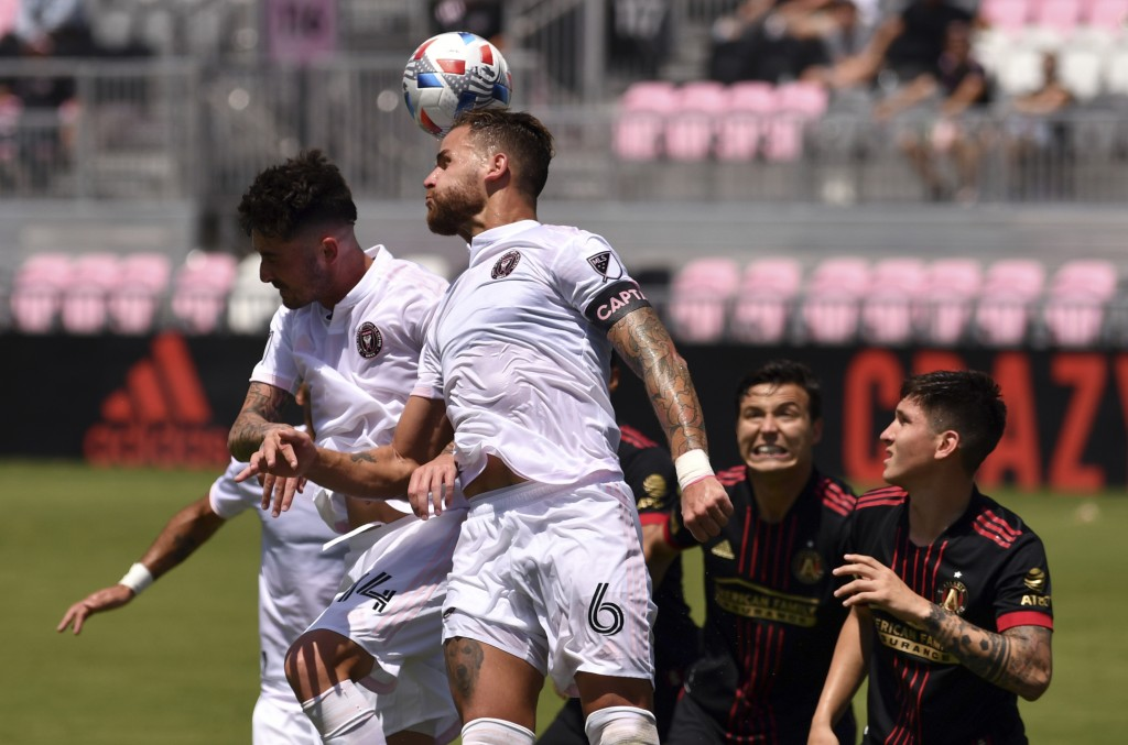 Inter Miami defender Leandro Gonzalez Pirez (6) heads the ball away from goal during the second half of an MLS soccer match, Sunday, May 9, 2021, in F...