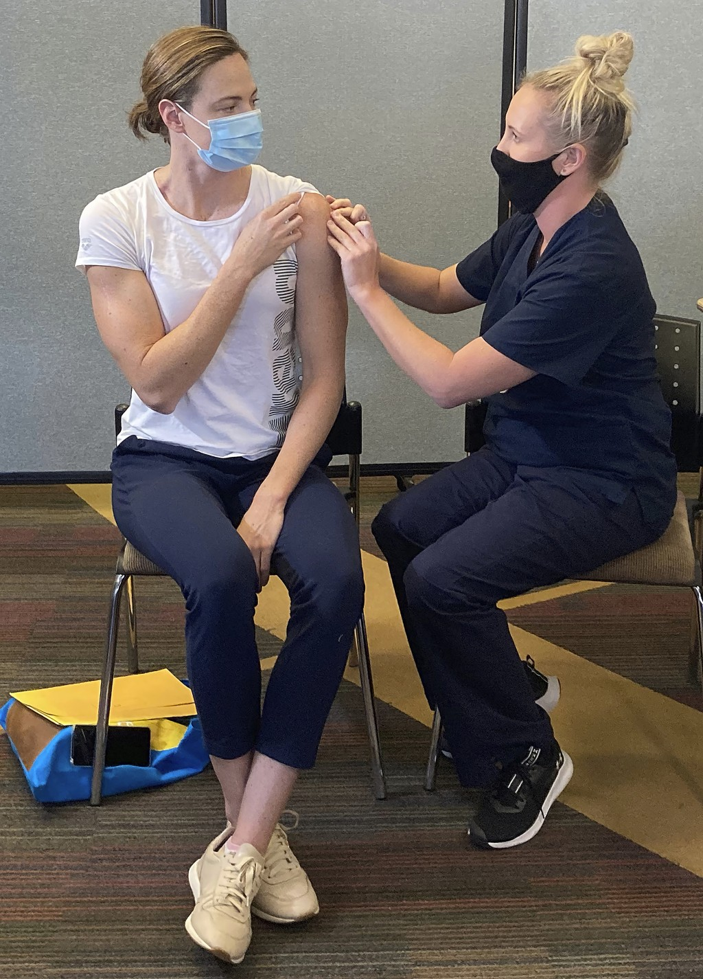 Swimmer Cate Campbell receives a Pfizer COVID-19 vaccination at the Queensland Academy of Sport in Brisbane, Australia, Monday, May 10, 2021. The Aust...