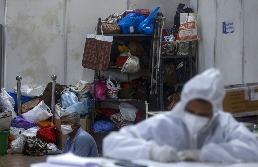 Belongings of patients are seen at the BKC jumbo field hospital, one of the largest COVID-19 facilities in Mumbai, India, Thursday, May 6, 2021.(AP Ph...