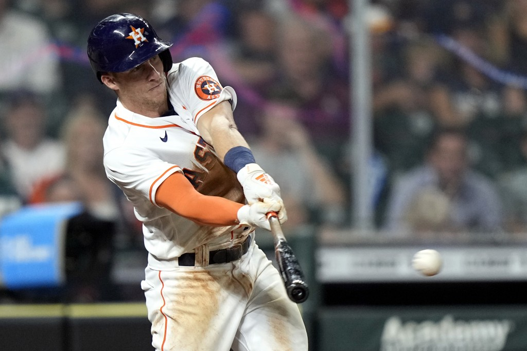 Houston Astros' Myles Straw hits a RBI-double against the Los Angeles Angels during the fifth inning of a baseball game Monday, May 10, 2021, in Houst...