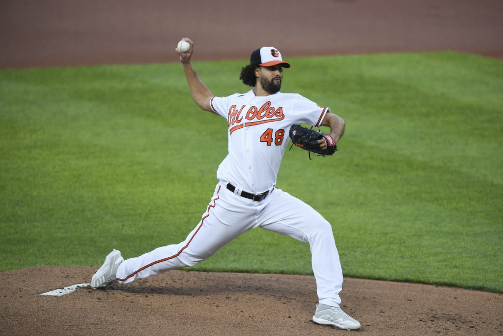 Baltimore Orioles starting pitcher Jorge Lopez (48) throws during the first inning of baseball game Boston Red Sox, Monday, May 10, 2021, in Baltimore...
