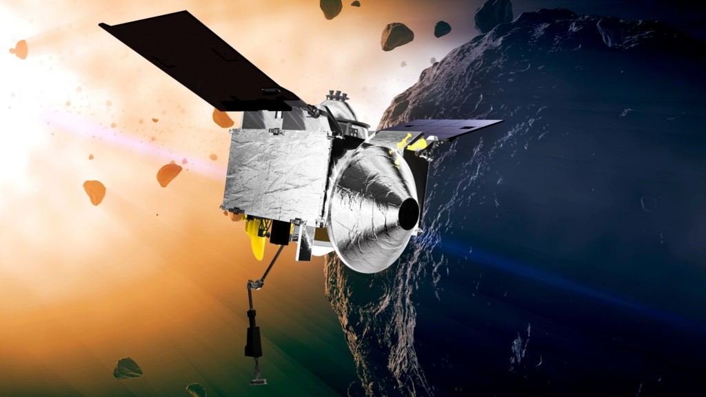 FILE - This illustration provided by NASA depicts the OSIRIS-REx spacecraft at the asteroid Bennu. On Monday, May 10, 2021, the robotic explorer fired...