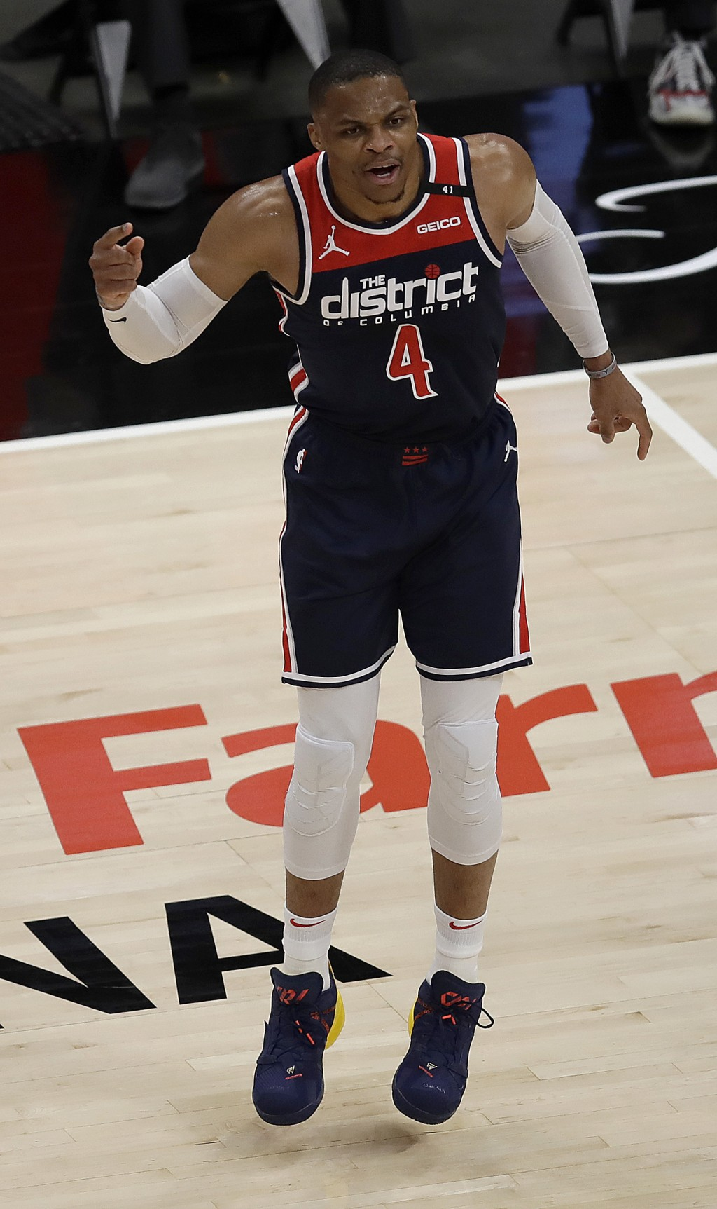 Washington Wizards' Russell Westbrook reacts during the first half of an NBA basketball game against Atlanta Hawks, Monday, May 10, 2021, in Atlanta. ...