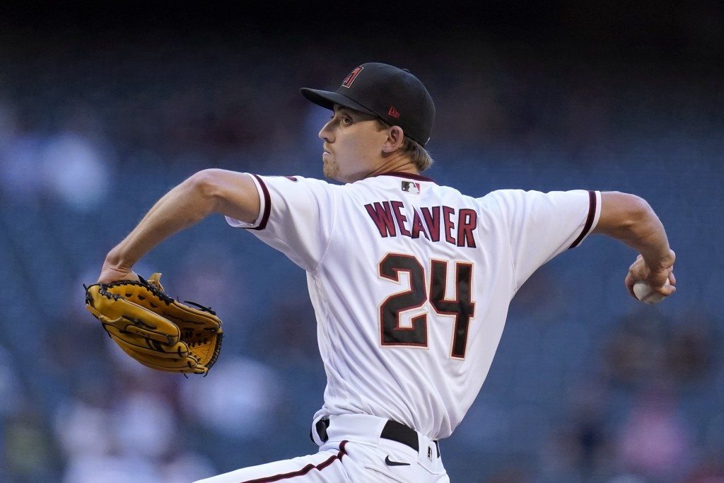 Arizona Diamondbacks starting pitcher Luke Weaver throws a pitch against the Miami Marlins during the first inning of a baseball game Monday, May 10, ...