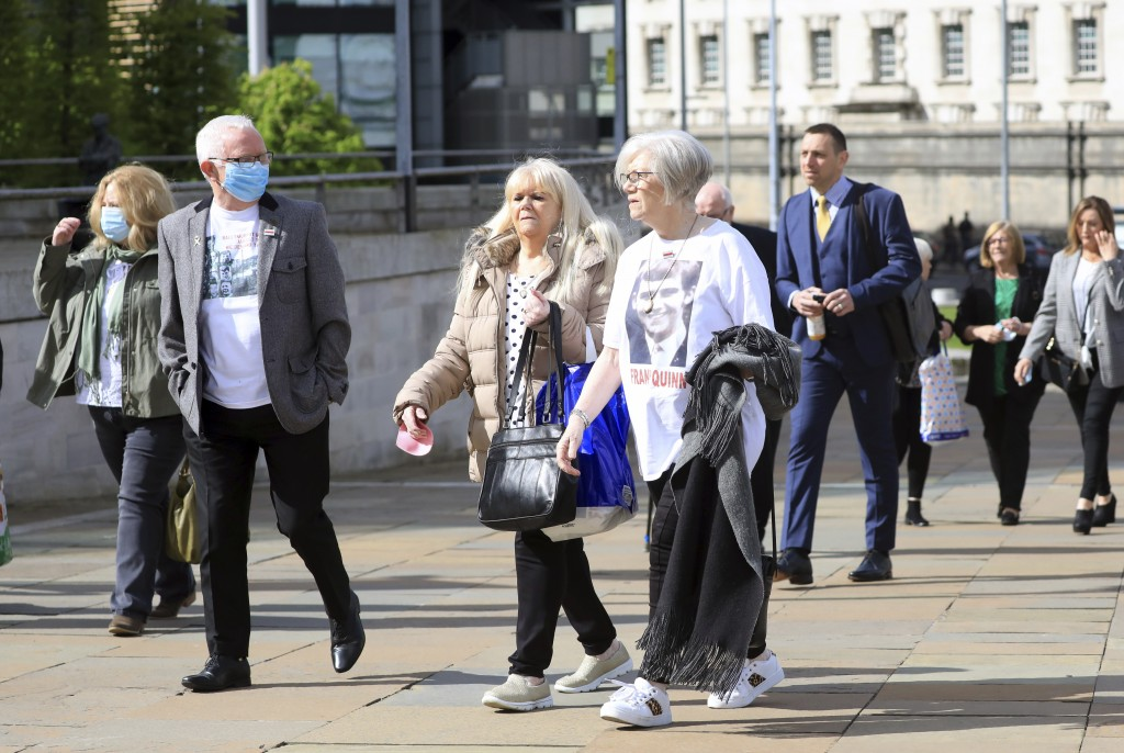 Relatives of Francis Quinn who was shot dead in the Ballymurphy shooting, arrive for the inquest into the shooting, in Belfast, Northern Ireland, Tues...