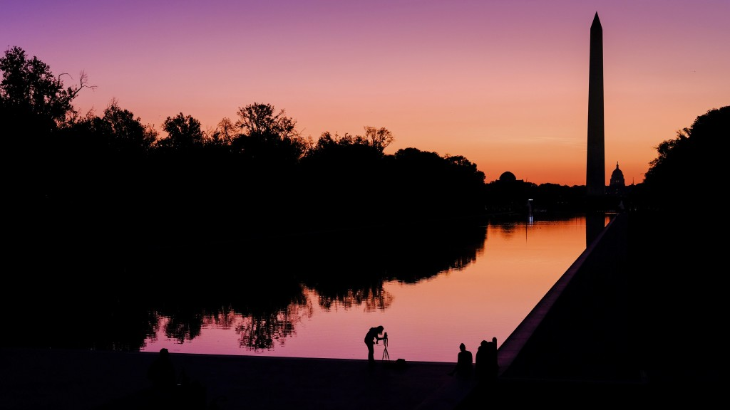 FILE - In this Sept. 21, 2019, file photo, a photographer lines up her shot at the National Mall reflecting pool as the sun begins to rise behind the ...