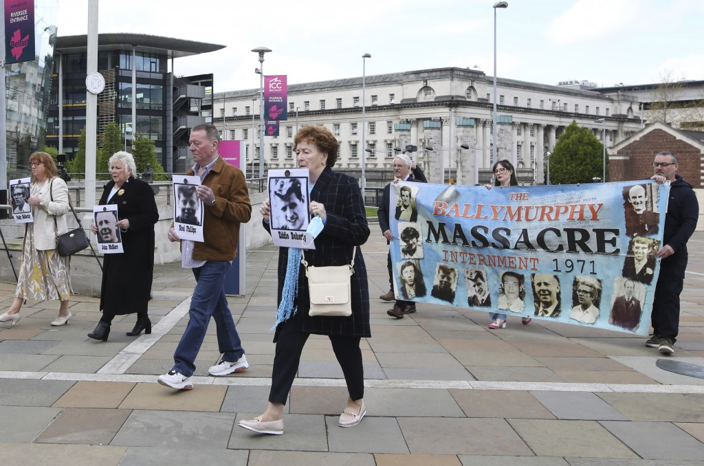Relatives arrive for the inquest into the Ballymurphy shooting, in Belfast, Northern Ireland, Tuesday May 11, 2021. The findings of the inquest into t...