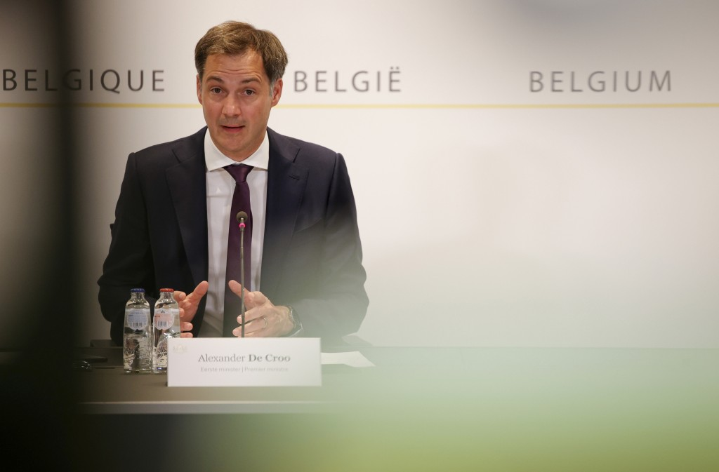 Belgium's Prime Minister Alexander De Croo speaks during a media conference after a Belgian government meeting to discuss coronavirus, COVID-19, measu...