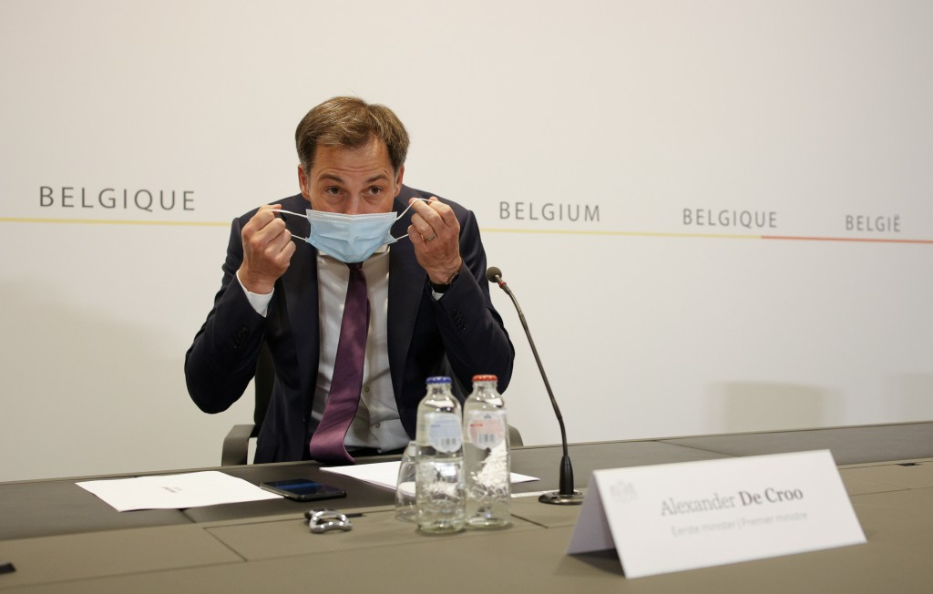Belgium's Prime Minister Alexander De Croo prepares to speak during a media conference after a Belgian government meeting to discuss coronavirus, COVI...