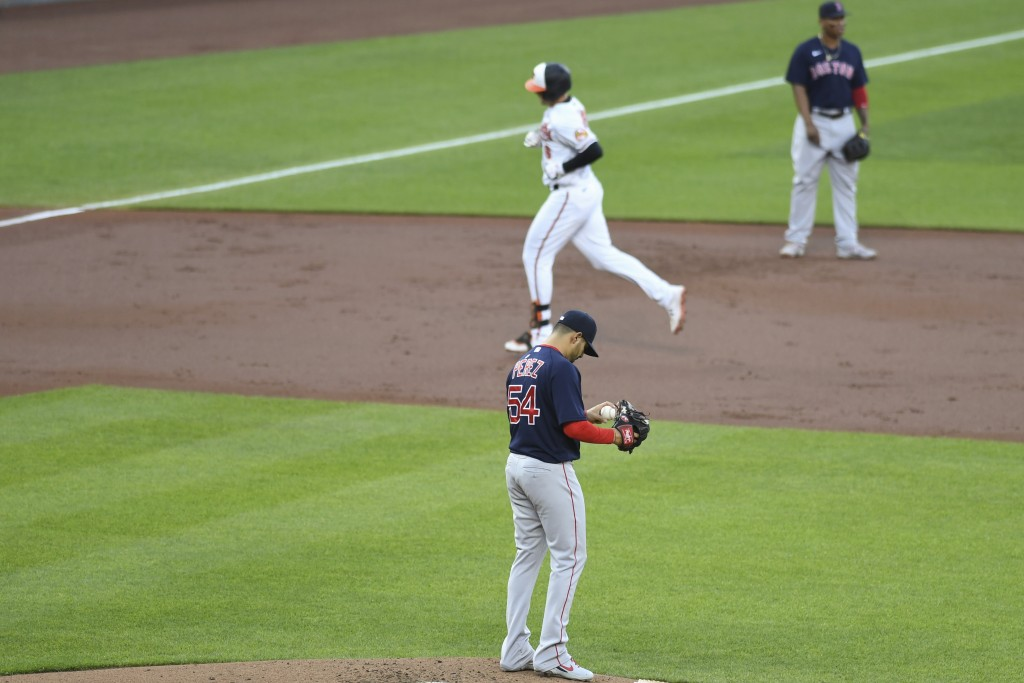 Boston Red Sox starting pitcher Martin Perez (54) reacts to first inning home run hit by Baltimore Orioles Ryan Mountcastle during a baseball game Mon...