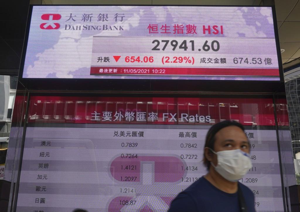 A man walks past a bank's electronic board showing the Hong Kong share index at Hong Kong Stock Exchange Tuesday, May 11, 2021. Shares dropped Tuesday...