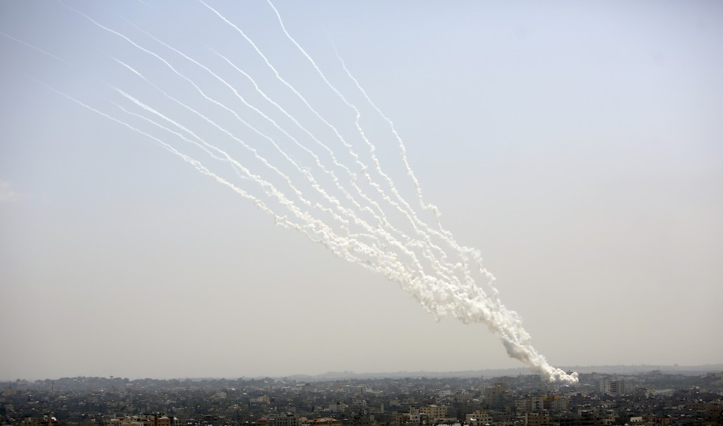 Rockets are launched from Gaza Strip to Israel, Tuesday, May 11, 2021. (AP Photo/Hatem Moussa)
