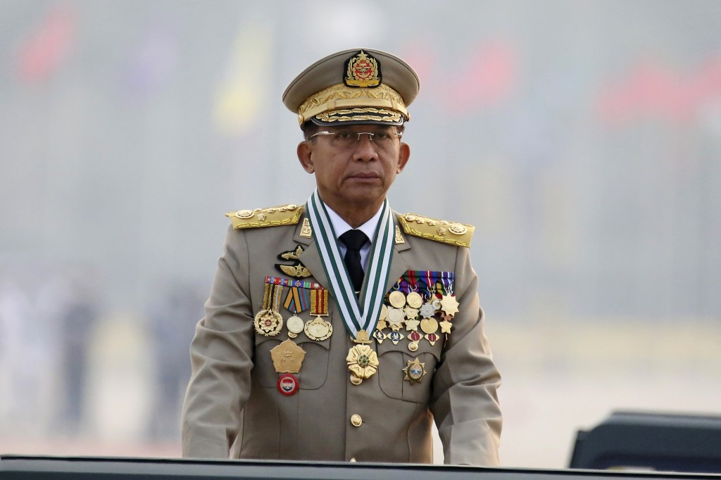 FILE - In this March 27, 2021, file photo, Myanmar's Commander-in-Chief Senior Gen. Min Aung Hlaing presides an army parade on Armed Forces Day in Nay...