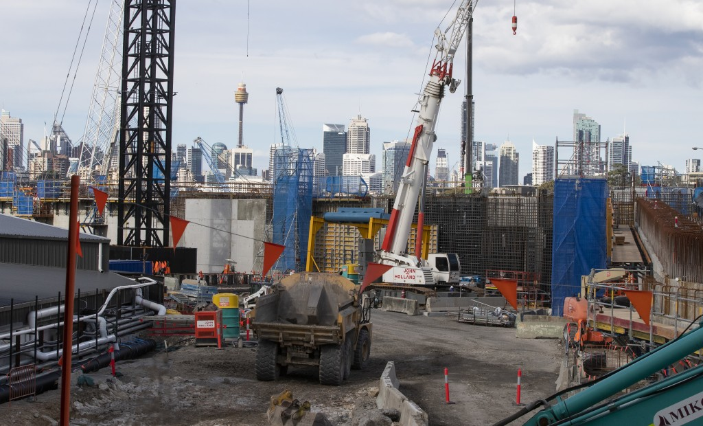 Heavy machinery work on a major road project in Sydney, Australia, Tuesday, May 11, 2021. The Australian government will release its big-spending econ...