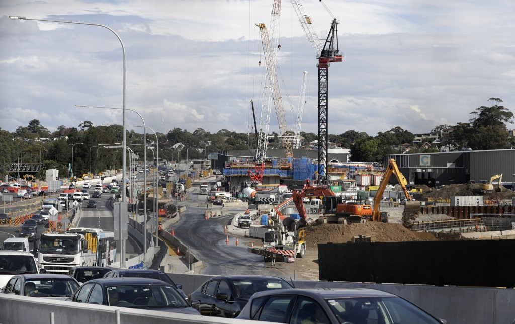 Traffic is diverted as work is underway on road infrastructure in Sydney, Tuesday, May 11, 2021, as the government prepares to release its big-spendin...