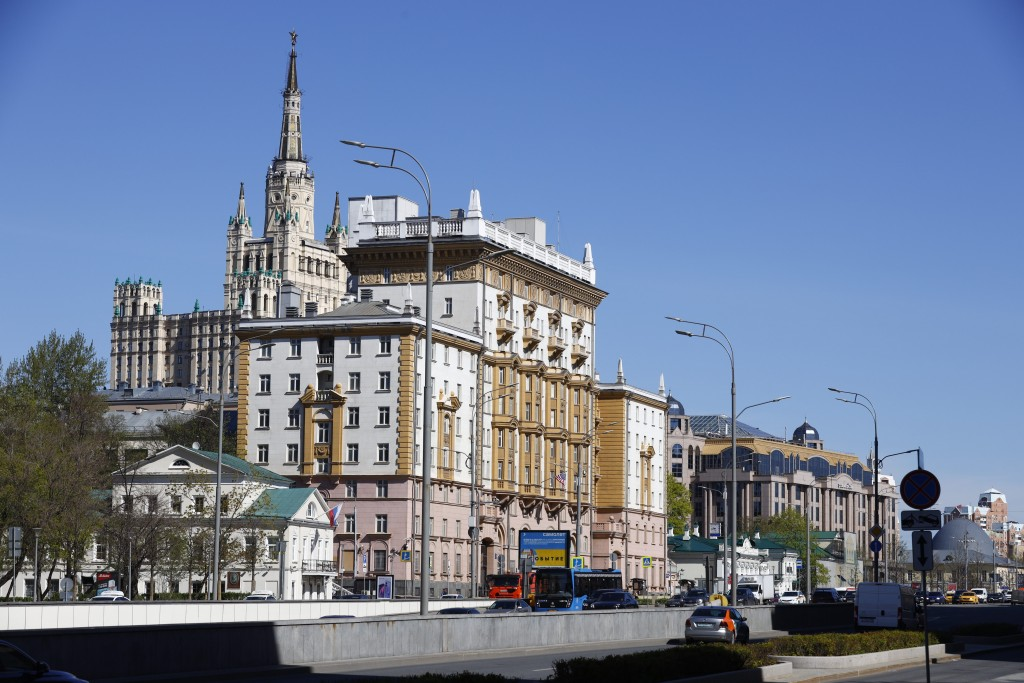 The U.S. Embassy, center, is seen in Moscow, Russia, Tuesday, May 11, 2021. Under Kremlin orders, the U.S. Embassy has stopped employing Russians, lea...