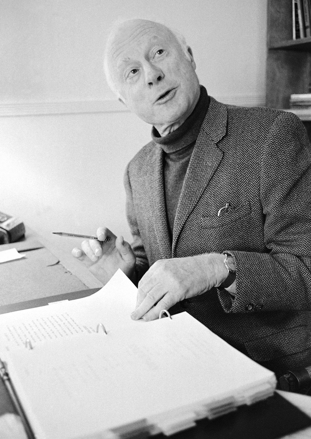 FILE - Norman Lloyd, executive producer of Hollywood Theater, a series of high-class dramatic shows seen on affiliated stations on the Public Broadcas...