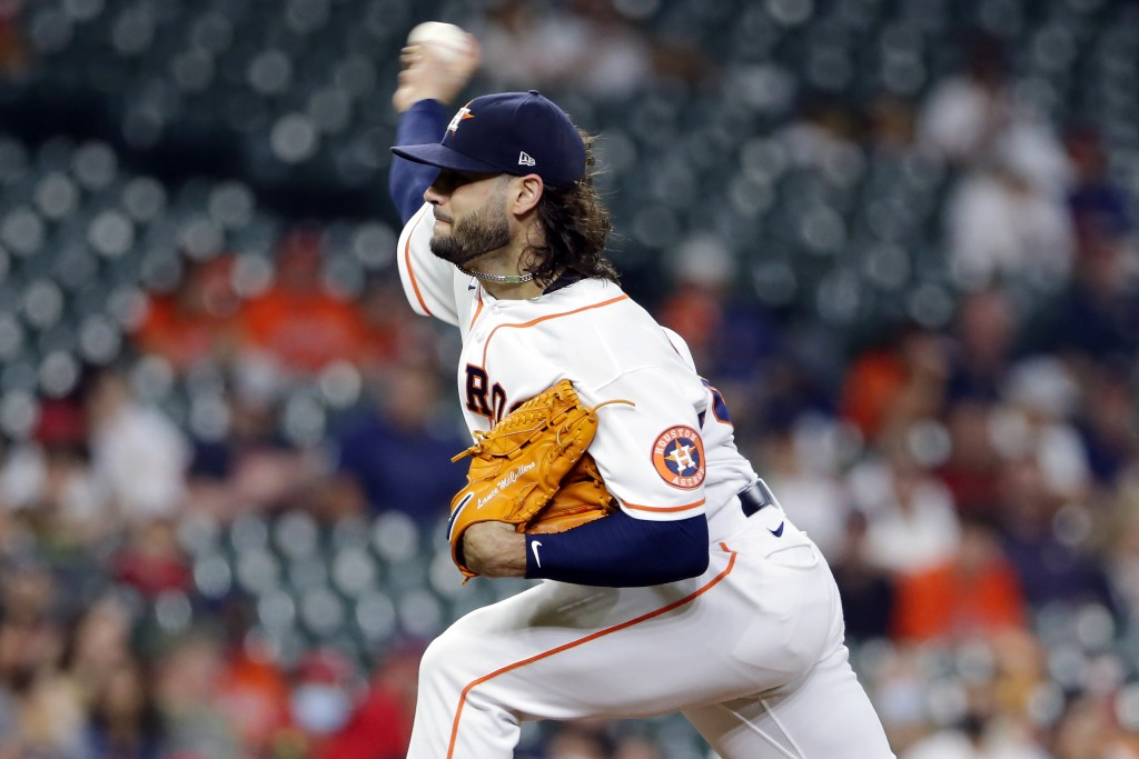Houston Astros starting pitcher Lance McCullers Jr. throws against the Los Angeles Angels during the first inning of a baseball game Tuesday, May 11, ...