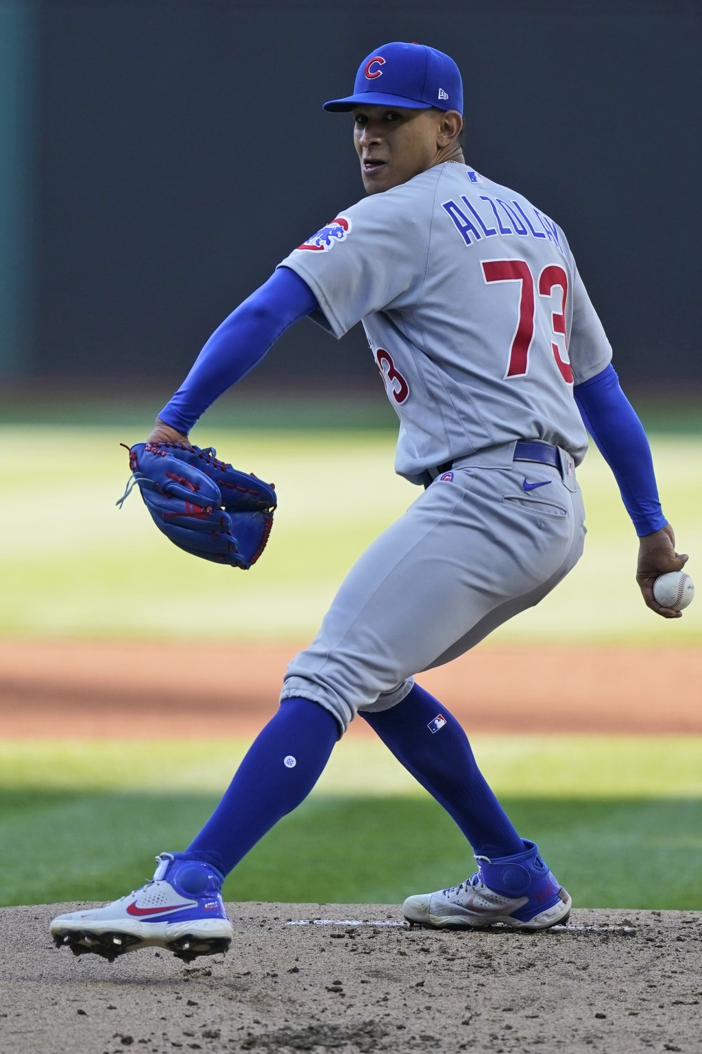 Chicago Cubs starting pitcher Adbert Alzolay delivers in the first inning of a baseball game against the Cleveland Indians, Tuesday, May 11, 2021, in ...