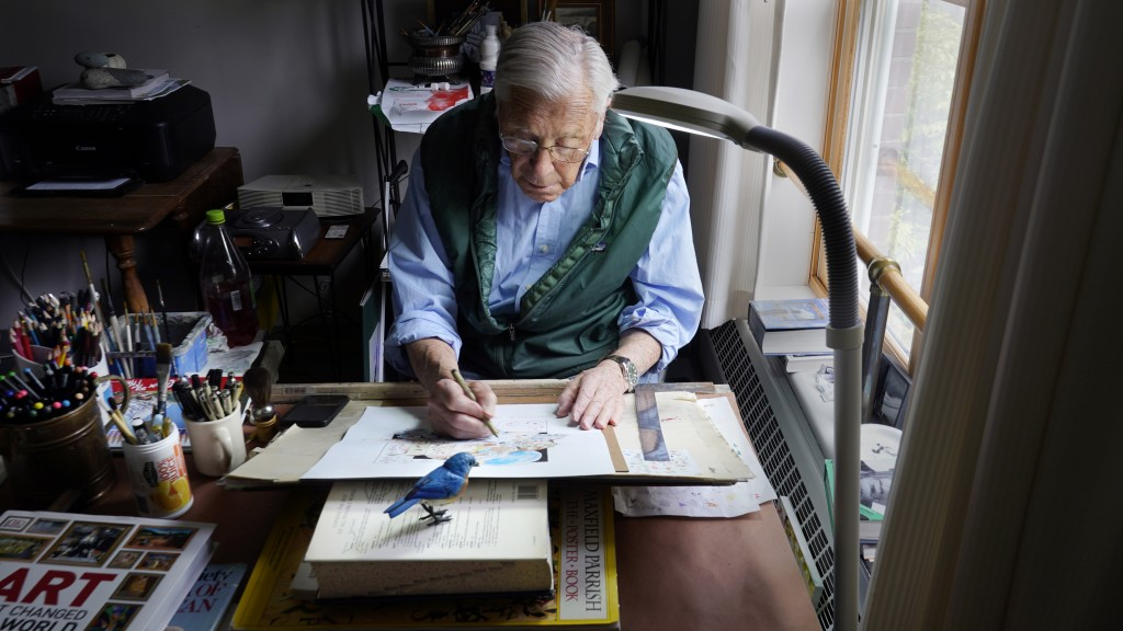 Artist Robert Seaman works on his 365th daily doodle in his room at an assisted living facility Monday, May 10, 2021, in Westmoreland, N.H. Seaman, wh...