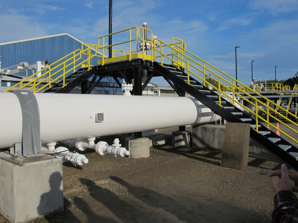 FILE - In this October 2016, file photo, is an aboveground section of Enbridge's Line 5 at the Mackinaw City, Mich., pump station. Michigan Gov. Gretc...