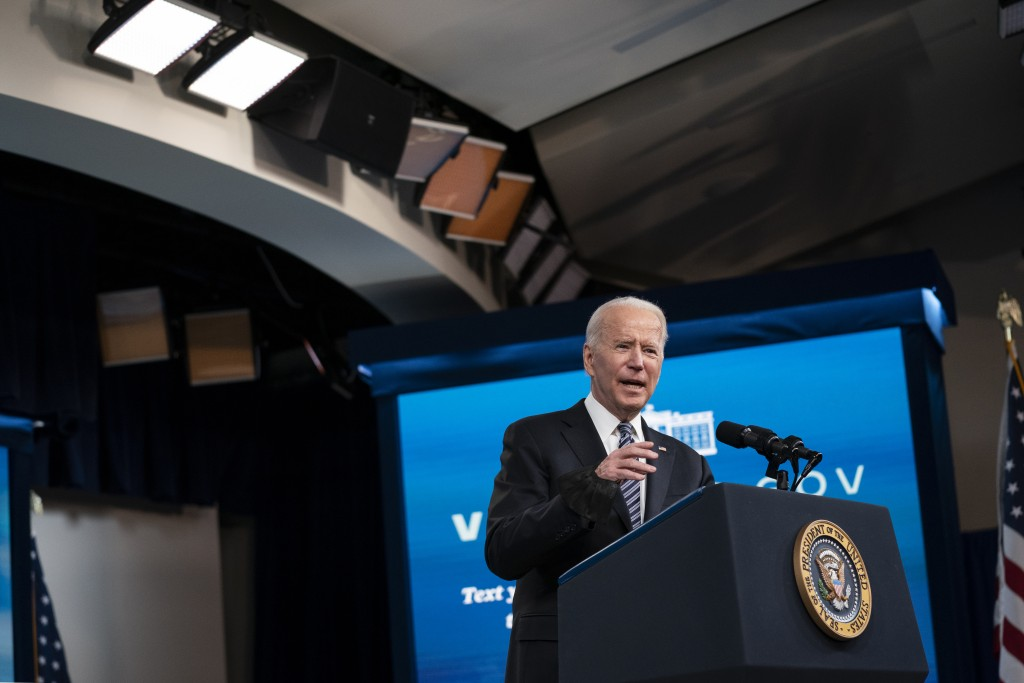 President Joe Biden delivers remarks about COVID vaccinations in the South Court Auditorium at the White House, Wednesday, May 12, 2021, in Washington...