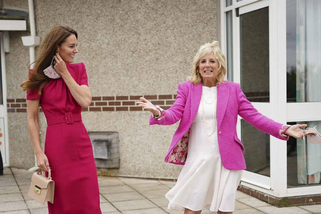 Britain's Kate, Duchess of Cambridge, center right, and US First Lady Jill Biden during a visit to Connor Downs Academy in Hayle, West Cornwall, durin...