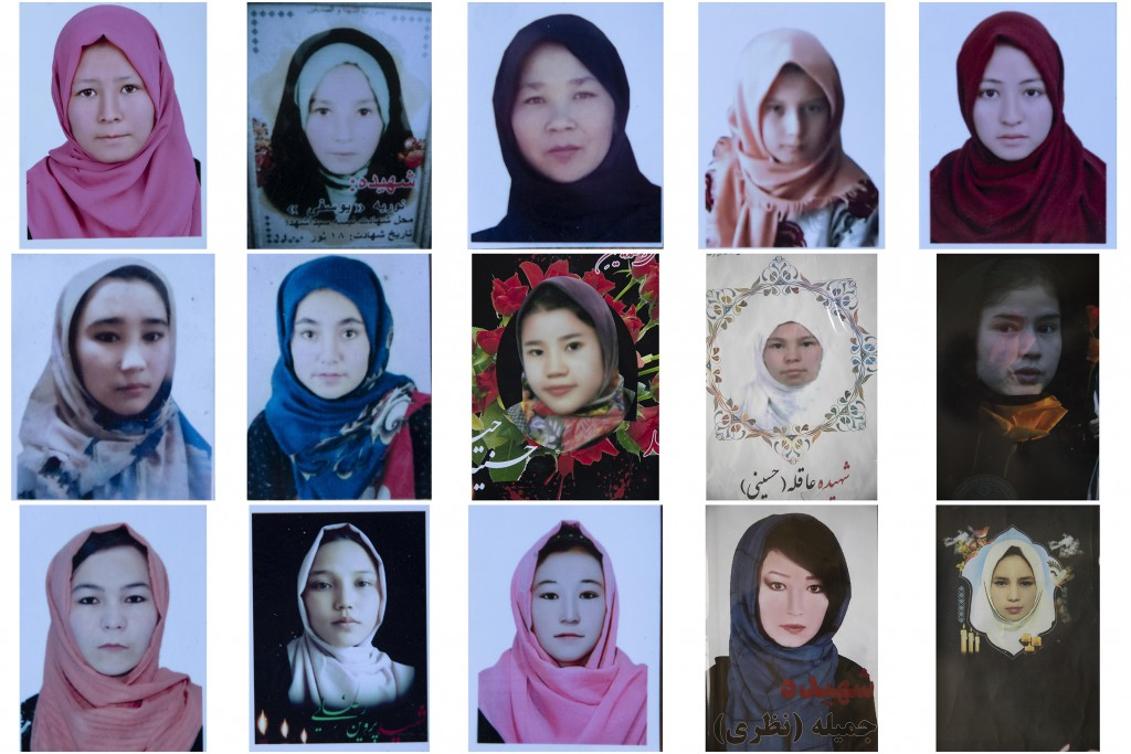 This combination photo shows portraits of Afghan Hazara school girls who were among nearly 100 people killed in bombing attacks outside their school o...