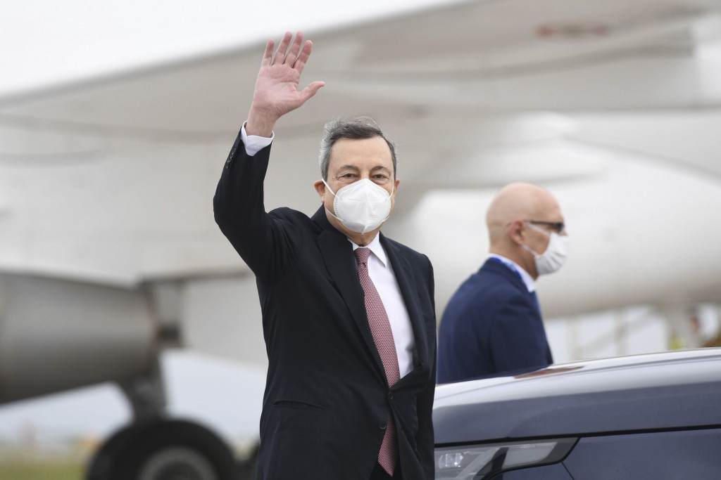 Prime Minister of Italy Mario Draghi arrives at Cornwall Airport in Newquay, England, Friday June 11, 2021, ahead of the G7 summit. Leaders of the G7 ...
