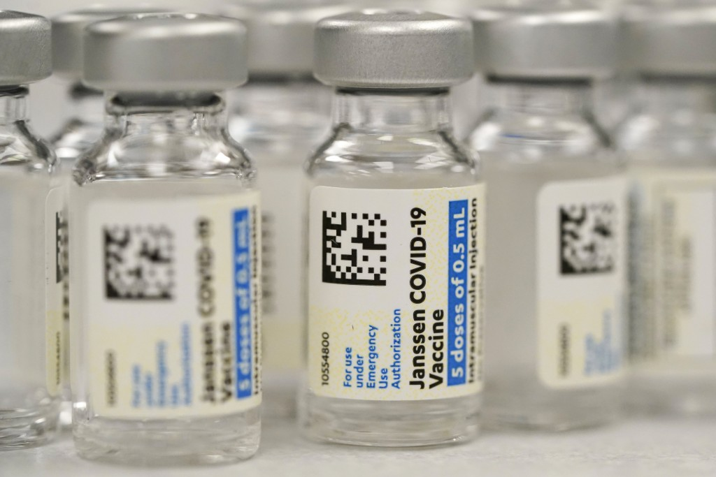 FILE - This Saturday, March 6, 2021 file photo shows vials of Johnson & Johnson COVID-19 vaccine at a pharmacy in Denver. On Thursday, June 10, 2021, ...