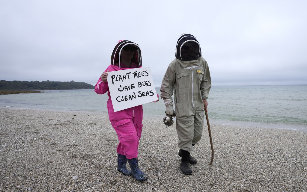 Climate activists Delores and Leroy Tycklemore wear bee keeping suits as they demonstrate as part of Fridays for Future at Gyllyngvase Beach in Falmou...