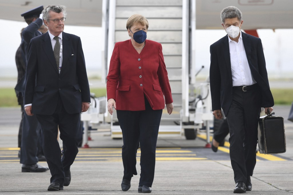 Chancellor of Germany Angela Merkel arrives at Cornwall Airport in Newquay, England, Friday June 11, 2021, ahead of the G7 summit. Leaders of the G7 b...