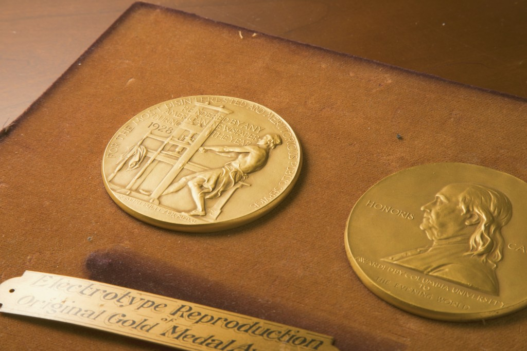 This undated photo shows the front and back sides of the medal awarded for the Pulitzer Prizes in New York.  The Pulitzer Prizes in journalism and the...