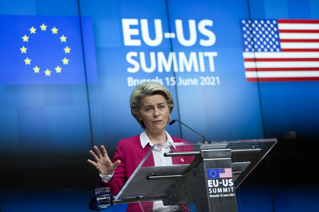 European Commission President Ursula von der Leyen talks during a media conference with European Council President Charles Michel at the end of the EU...