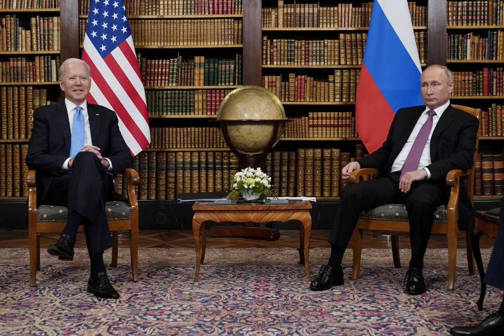 President Joe Biden meets with Russian President Vladimir Putin, Wednesday, June 16, 2021, at the 'Villa la Grange', in Geneva, Switzerland. (AP Photo...